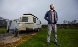 Tim Jones is living in a caravan in a Derbyshire field.