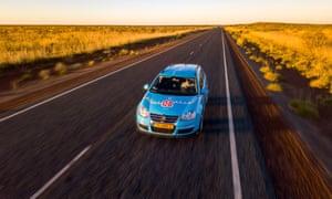Wiebe Wakker cruising through the Pilbara in his small electric car he calls 'Blue Bandit'