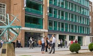 Students outside Birkbeck, University of London.