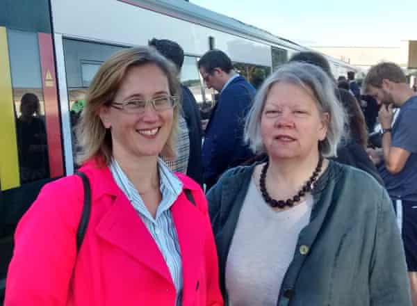 Kate Hayes, right, and Fran Dobson prepare to board the 0704 Southern train to Victoria from Redhill.
