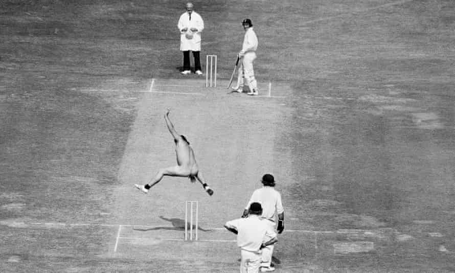 Michael Angelow hurdles the stumps at Lord's