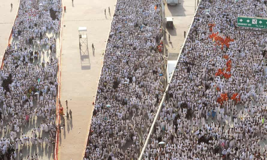 Pilgrims on the Jamarat bridge, which can handle up to 600,000 people per hour.