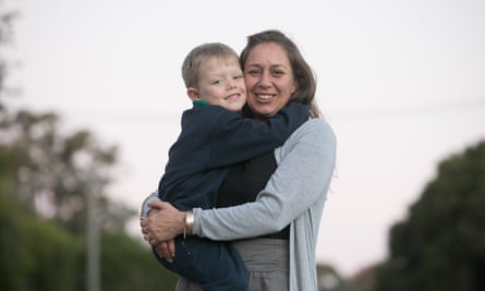 Helen Eason with her son, five, at her home