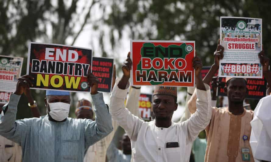 Protesters in northern Nigeria earlier this month called for action from authorities to crack down on Boko Haram and 'banditry', after hundreds of schoolboys were kidnapped.