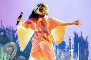 Snubbed again? ... Björk performing in Barcelona, May 2018.