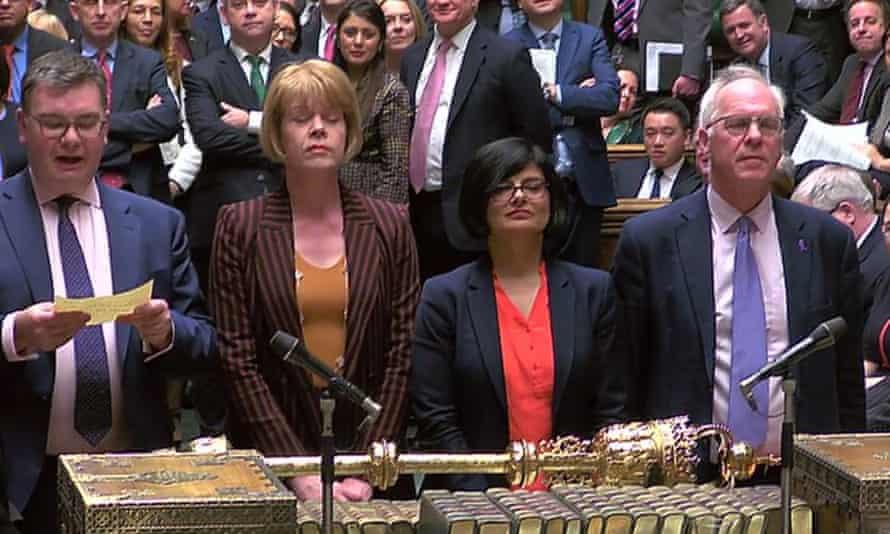 MPs announce the result of the vote on Labour MP Yvette Cooper's amendment.