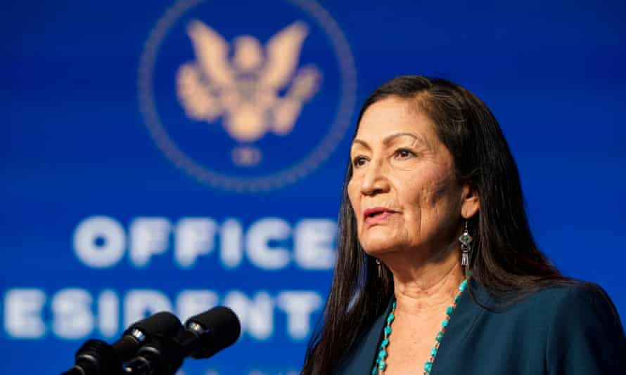 Deb Haaland at the Queen Theater on Saturday.