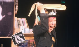 Daisy Campbell performing her show Pigspurt's Daughter at Hampstead theatre, London.
