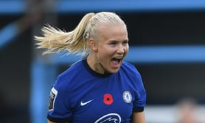 Pernille Harder after scoring for Chelsea against Everton in the WSL