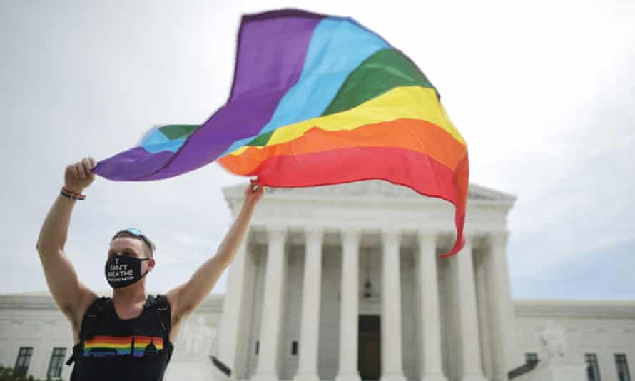 *** BESTPIX *** Supreme Court Issues Orders And Releases Opinions<br>WASHINGTON, DC - JUNE 15: Joseph Fons holding a Pride Flag, stands in front of the U.S. Supreme Court building after the court ruled that LGBTQ people can not be disciplined or fired based on their sexual orientation June 15, 2020 in Washington, DC. With Chief Justice John Roberts and Justice Neil Gorsuch joining the Democratic appointees, the court ruled 6-3 that the Civil Rights Act of 1964 bans bias based on sexual orientation or gender identity. (Photo by Chip Somodevilla/Getty Images) *** BESTPIX ***