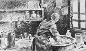 The medical pioneer Ignaz Semmelweis washing his hands in chlorinated lime water before operating.