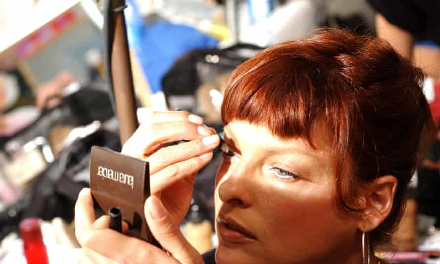 Linda Evangelista backstage at the Dolce and Gabbana fashion show, Milan, Italy.