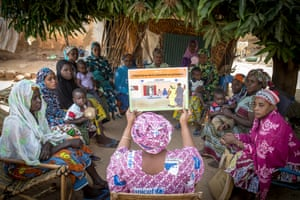 "Fatoumata Ouattara leads a group session on the importance of prenatal health. She says: ""Mothers have to register their children at birth, respect the vaccination calendar to immunise them, exclusively breastfeed them for the first six months, play with them at home and enrol them in preschool"""