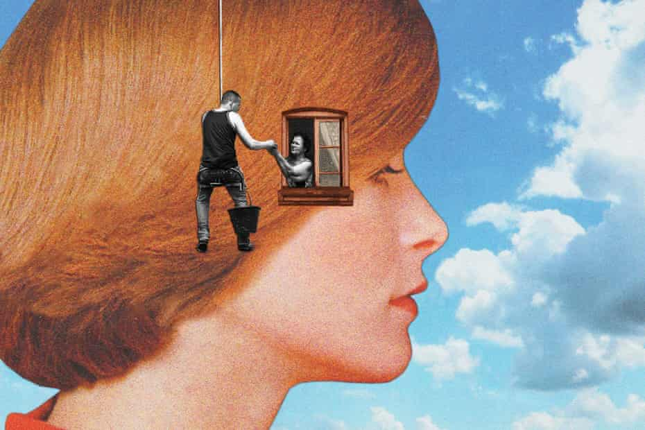 illustration of a woman in profile and person on rope helping a tiny woman leaning out of a window in her head