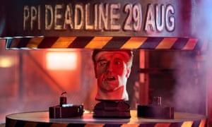 The animatronic head of Arnold Schwarzenegger being placed in a hydraulic press during an advert to remind people how long they have left to complain about PPI.