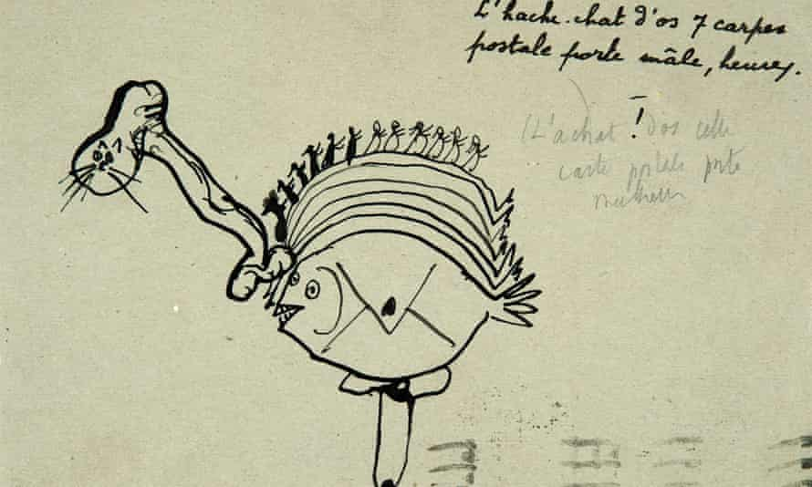 A Picasso drawing on the back of a postcard