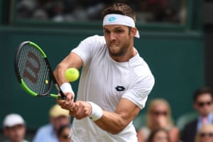 Jiri Vesely returns to Rafael Nadal