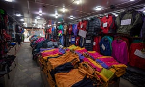 An empty mountain gear shop in Thamel, a major tourist hub in Kathmandu