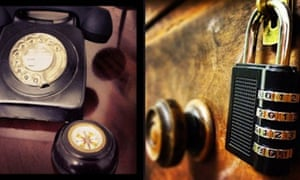 A composite image of objects – a manual dial telephone and a padlocked desk drawre – in the Escape Game HintHunt's 1940s detective room. London