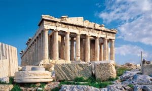 The Parthenon on the Acropolis in Athens. Many of the marbles are on display at the museum.