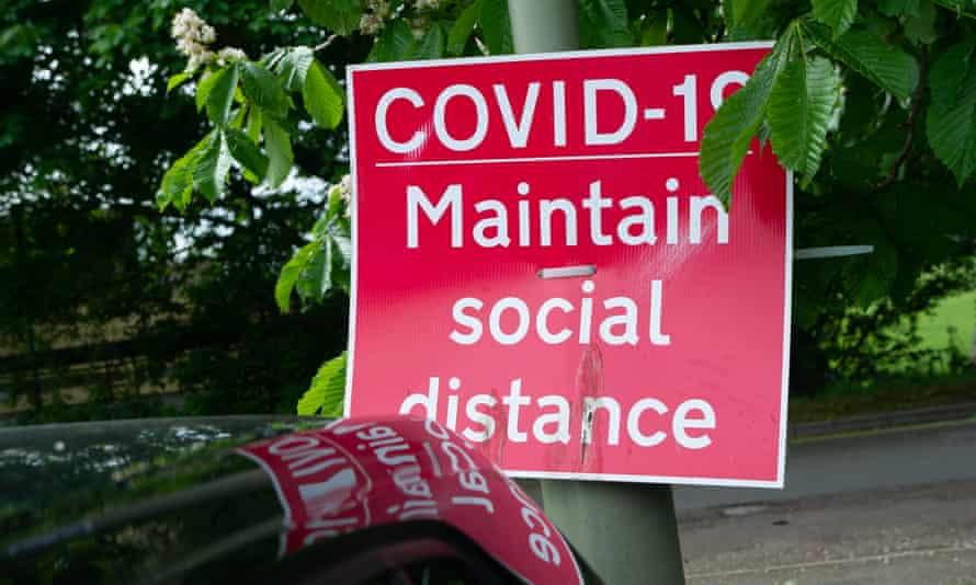 A social distancing sign in Windsor, Berkshire