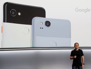 Introducing Pixel 2 … Mario Queiroz speaks at the event.