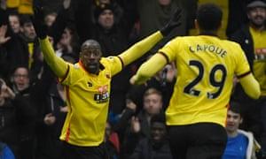 Watford's Stefano Okaka celebrates scoring their third goal.