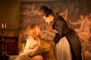 Morfydd Clark (Cecile Volanges) and Janet McTeer (La Marquise de Merteuil) in Les Liaisons Dangereuses 2015