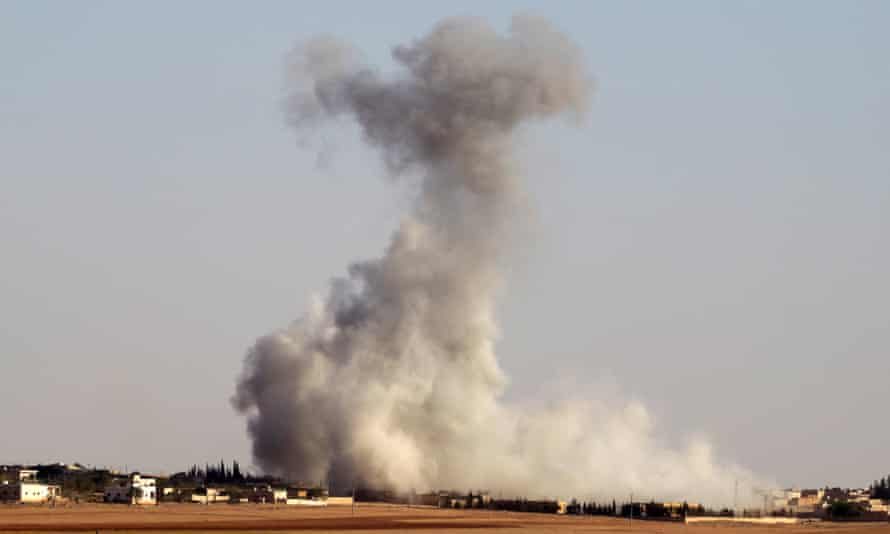 Airstrikes on Guzhe, northern Aleppo, Syria on 17 October.