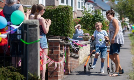 'Ginormous challenge': Boy with cerebral palsy completes marathon