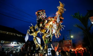 Ogoh-ogoh figures being paraded through the streets in the run up to Nyepi.
