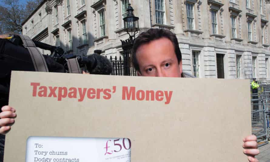 Labour supporters stage a protest over David Cameron's involvement with Greensill Capital at Downing Street, London.