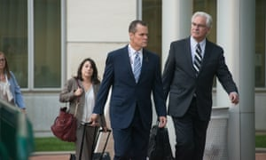 Taylor Swift's attorney Doug Baldridge, center, at the courthouse in Denver.