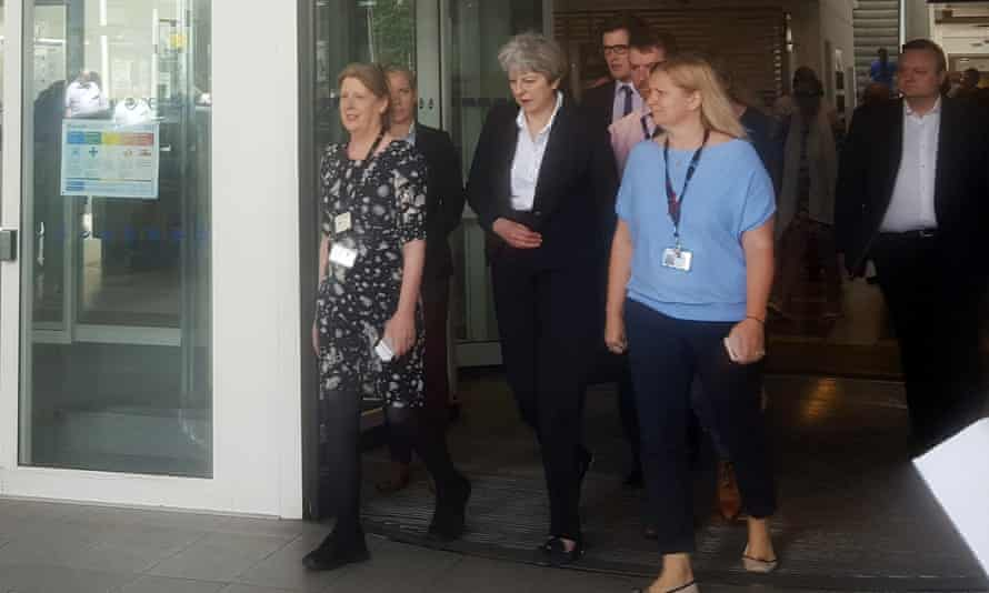 Theresa May leaves the Chelsea and Westminster Hospital