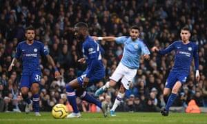 Riyad Mahrez of Manchester City scores to make it 2-1.