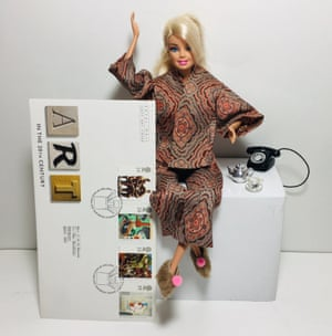 ArtActivistBarbie not pleased with an all-male set of artist stamps.