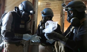 A UN chemical weapons expert in Ain Tarma, Syria