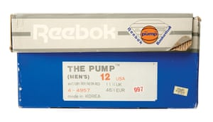 1989: the Pump packaging. The Reebok shoe used inflatable chambers that pumped up for a custom fit.
