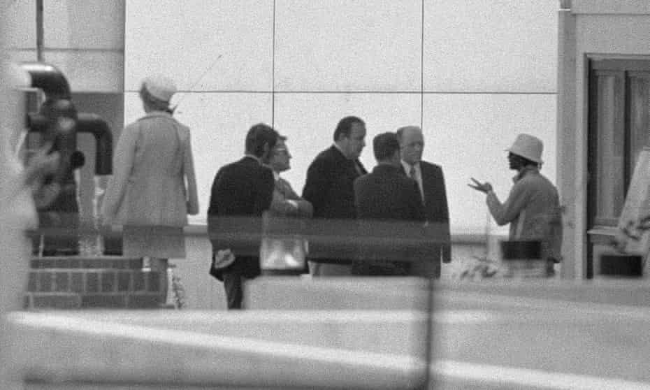 German officials negotiating with a representative of the hostage-takers at the Olympic Games in Munich in 1972.