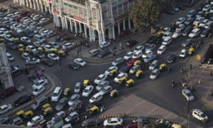 Traffic in the central Connaught Place area in New Delhi.