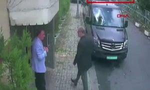 Khashoggi arriving at the Saudi Arabian consulate in Istanbul on 2 October