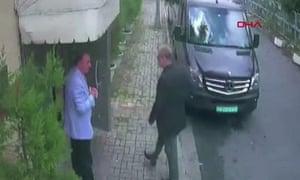 Jamal Khashoggi arrives at the Saudi Arabian consulate in Istanbul.