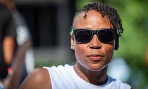 Traxx Girls, Inc. founder Melissa ÒDJ MÓ Scott, one of the organizers of the Pure Heat Community Festival, poses for a portrait backstage during the festival at Piedmont Park in Atlanta, Ga. on 2 Sept. 2018. The festival is the largest event of Atlanta Black Pride weekend. Photograph: Bita Honarvar © 2018 Bita Honarvar