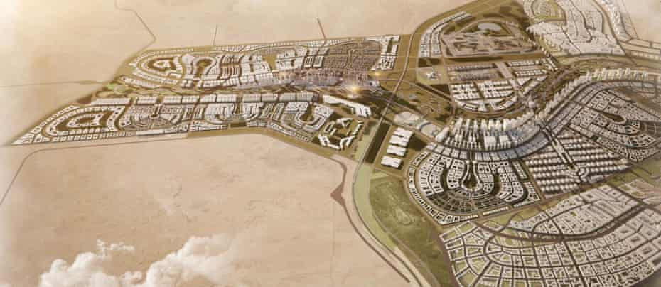 A graphic of the new Egyptian capital shows completed residential districts, as well as the planned tallest building in Africa at 345 metres high.