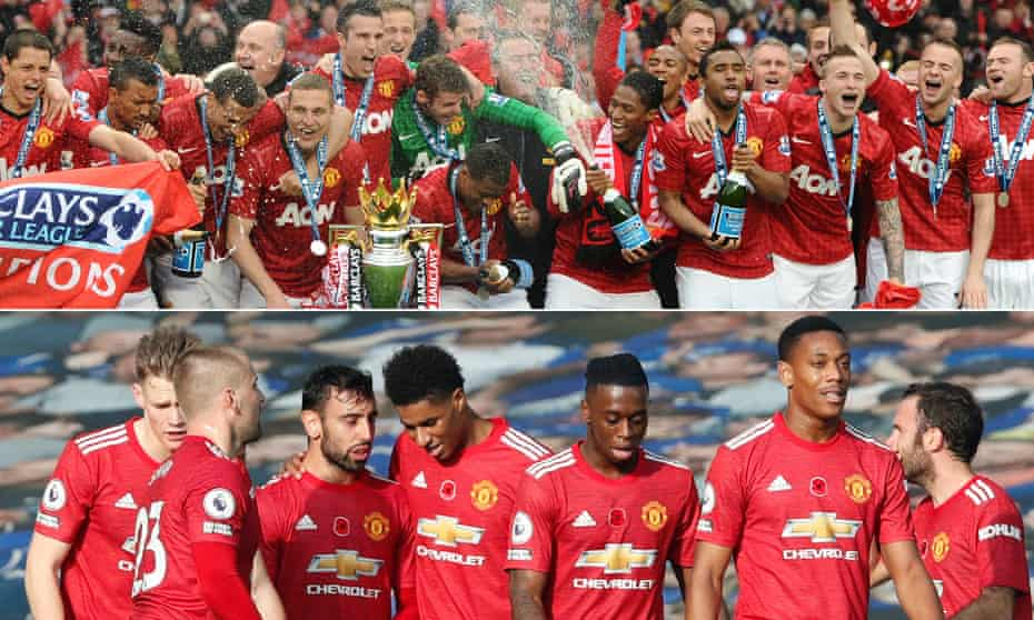 Manchester United players celebrate with the Premier League trophy in May 2013; Bruno Fernandes of Manchester United celebrates with teammates after scoring against Everton at Goodison Park in November 2020.