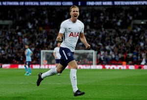 Kane celebrates scoring the opener for Spurs.