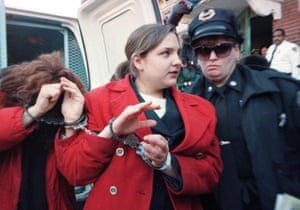Louise Woodward is escorted into Newton district court, Massachusetts, 1997.