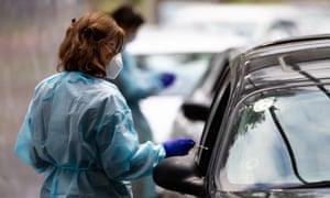 Drive-through coronavirus testing in Melbourne