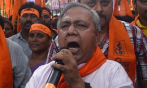 Hindu nationalist Tapan Ghosh gives a speech during a rally