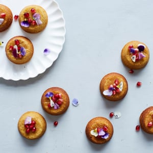 Clementine, polenta and pomegranate syrup cakes. Photographs: Lizzie Mayson for the Guardian. Food styling: Tamara Vos. Prop styling: Anna Wilkins.